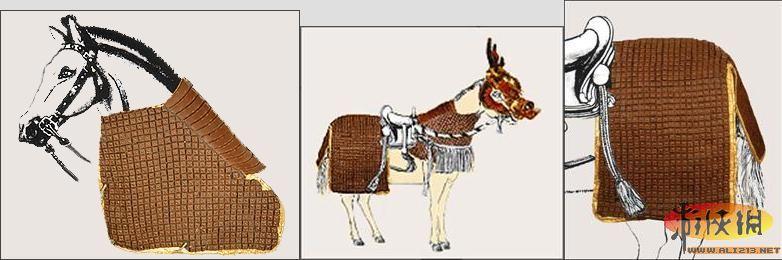 """其具有了一般马铠的结构,式样与中国古代的""""甲骑具装""""类似,主要材料为"""